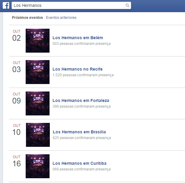 Print do perfil do Facebook do grupo na categoria Eventos