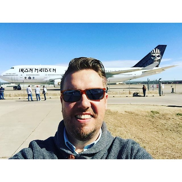 I don't always take selfies but when I do I like have epic things behind me. #ironmaiden #uptheirons #edforceone #tulsa #oklahoma #instagood #flight #photooftheday - @nathanharmon