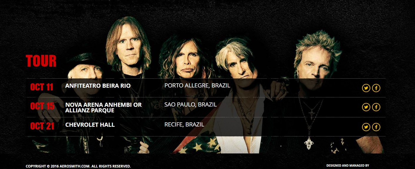 Print da página oficial do Aerosmith